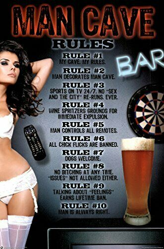 Man Cave My Cave My Rules Funny Poster 24x36