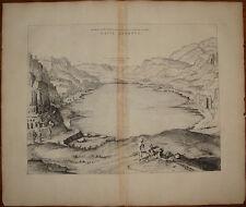 Stampa antica Lago Averno Pozzuoli Mortier 1704 old print kupferstich Blaeu