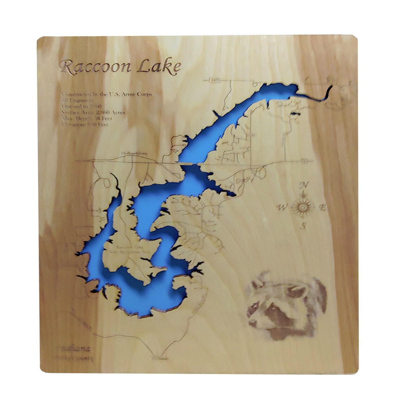 Wood Laser Cut Map of Raccoon Lake, Indiana