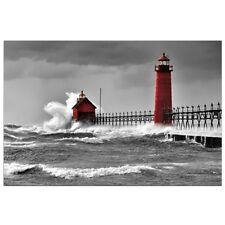 Grande Nautico Mare bianco e nero Rosso Faro in una tempesta Tela Acqua Oceano