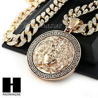 Hip Hop 14k Gold Plated Medusa Medallian Pendant 30 Iced Out Cuban Link Chain 2