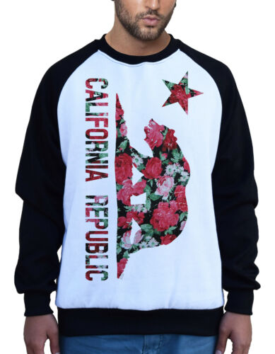 Men/'s Roses California Bear Flag  White Raglan Sweatshirt Republic Cali CA B399
