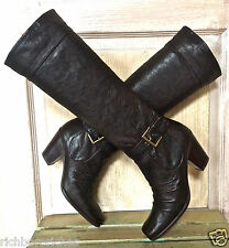Stuart Weitzman brown leather Swashbuckler Cowboy buckle tall boots NIB 6.5