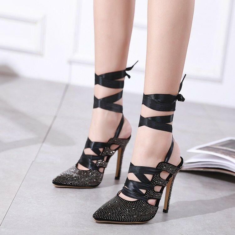 Womens Ladies Fashion Sexy Diamante Ankle Wrap High Heel Sandals Party shoes XUN