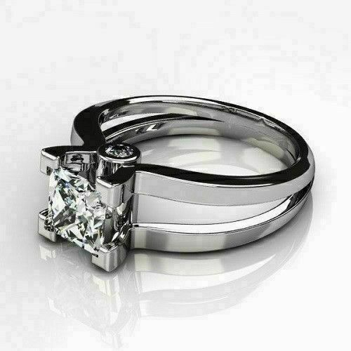 1.25 Ct Princess Diamond Solitaire Wedding Engagement Ring 14K White Gold Over 2