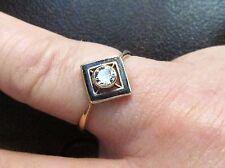 Art Deco 14k White Gold Solitaire European Diamond and Black Enamel Ring