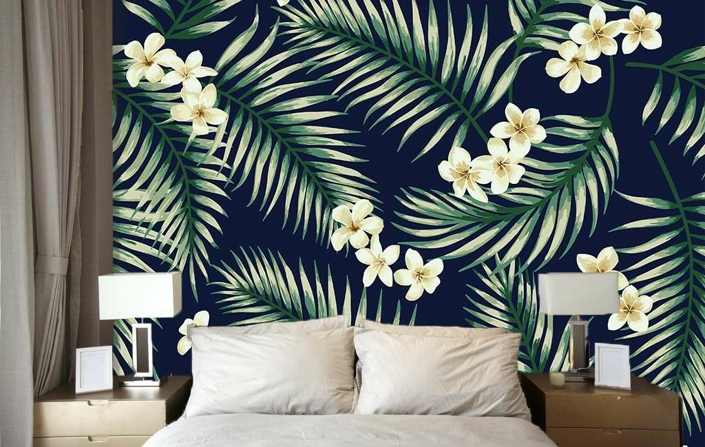 3D Leaves Flowers 732 Wall Paper Murals Wall Print Wall Wallpaper Mural AU Lemon