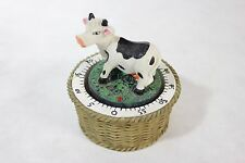 Cute Country Cow on a Wicker Basket 60 Minute Composite Rotating Kitchen Timer!