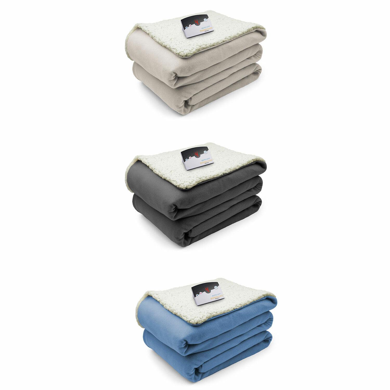 Biddeford Comfort Knit Fleece Sherpa Electric Heated Blanket All Größes & Farbes