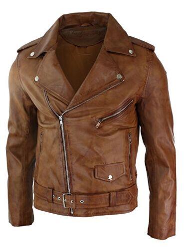 Mens Slim Fit Cross Zip Tan Brown Brando Motorcycle Real Leather Jacket