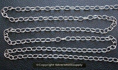 Large Silver plated cable chain 10x8mm dia twist 4 open links in 12ft PCH074