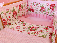 new crib size (90x40) bumper in Rosali fabric by Cath Kidston made to order