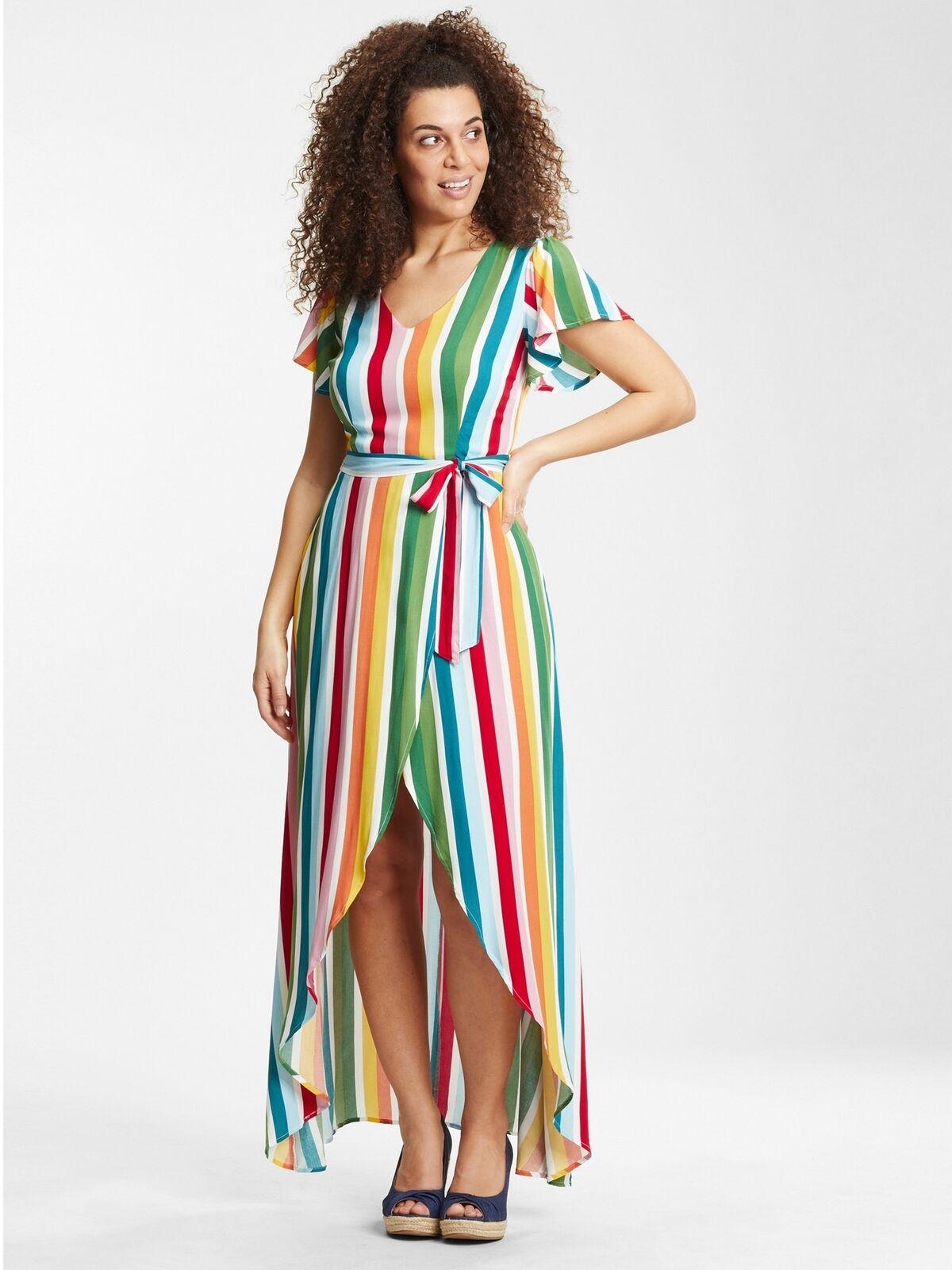 Collectif X Modcloth Sunny Rainbow Twin Stripe Maxi Dress Multi UK8