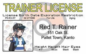 new Red TRainer POKEMON plastic collector card Drivers License Pallet Town Kanto