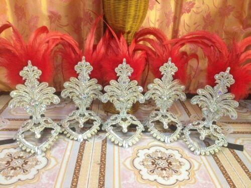 Orange feathers Diva Tiara Crown Head Cap Crystal Headdress Cabaret Handmade