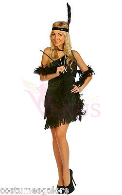 OP Ladies Costume Fancy Dress 1920s Black Flapper Gangster(122) Sz 8,10,12,14,16