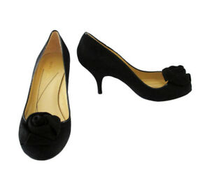 363d7c567a0 Kate Spade Black Suede Pumps Shoes with Roses size 8 B | eBay