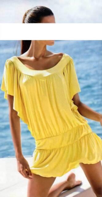 Kleid Strand Kleid Long Shirt Heine gelb Viskose Gr 40 42 44