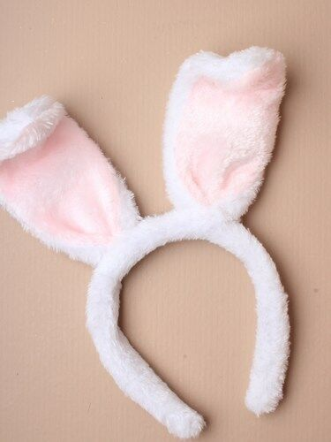Pink and White Bunny Rabbit Ears Alice Band Headband Fancy Dress Party Easter