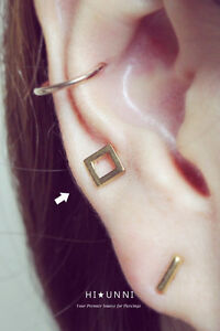 Image Is Loading 16g Square Cartilage Earrings Conch Helix Men