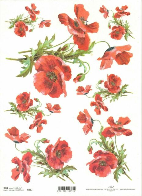 Rice Paper for Decoupage Scrapbooking Alice Roses Sheet Craft Vintage
