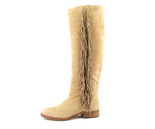 NIB  275 Sam Edelman JOSEPHINE Camel Leather FRINGE Boots Womens 7.5 M