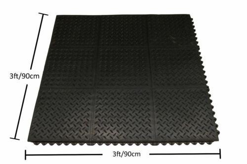 12 Mat Pack Heavy Duty Rubber DiamondTop Interlocking GYM Exercise 900mm x 900mm