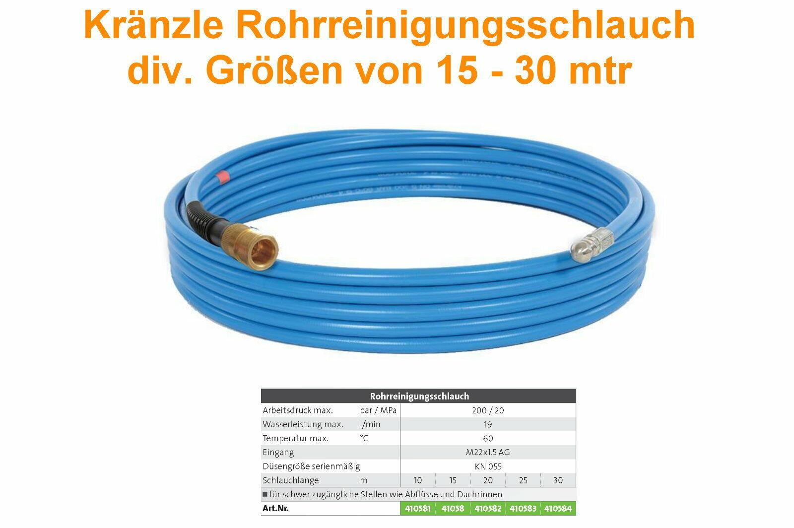 Kränzle Rohrreinigungsschlauch mit Düse KN 055 Professional - Neu - Aktion --
