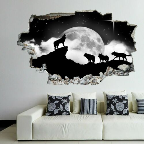 Howling Wolves Moon Stars Wall Art Stickers Mural Decal Kids Bedroom Home EJ13