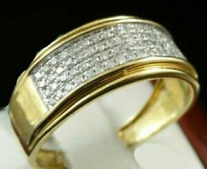 1-20-Ct-Round-Brilliant-Diamond-14K-Yellow-Gold-Over-Solid-Men-039-s-Pinky-Band-Ring