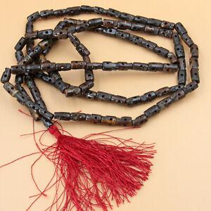 Kali-Mala-XL-140cm-Gebetskette-Totenkopf-Hinduismus-Yakbone-Braun-Indien-Puja-OM