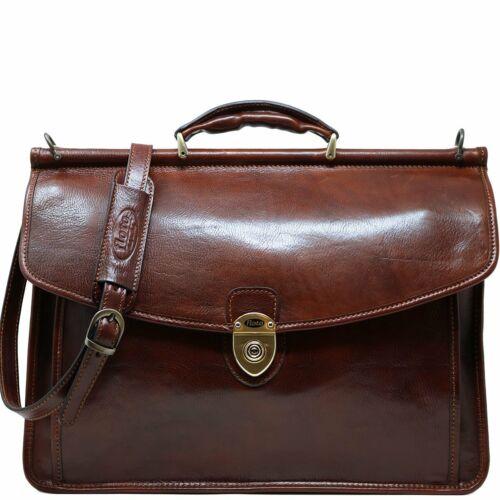 Floto Italian Leather Firenze Dowell Briefcase Messenger Bag