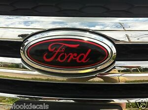 Front and rear oval emblem STICKER / DECAL OVERLAYS Fits 15 16 17 FORD EDGE