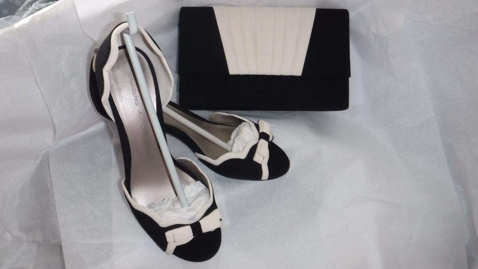 PRETTY JACQUES VERT BLACK & CREAM 38. Schuhe EU 38. CREAM UK 5  & MATCHING BAG 625e36