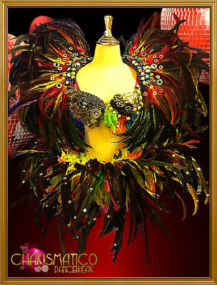 Carnival Patchwork beaded and feathered samba bra, belt, and collar costume set