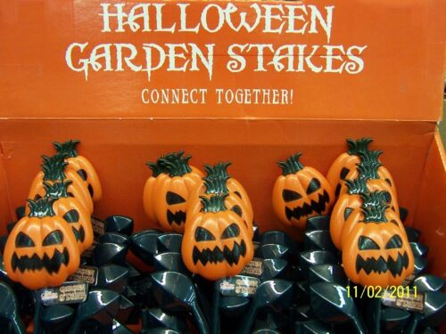 Pumpkin Garden Stakes Plastic Lawn Pathway Markers Halloween Party Decorations