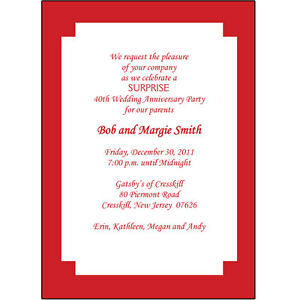 25 Personalized 40th Wedding Anniversary Party Invitations AP004