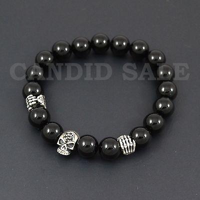Skull Head Hand 925 Sterling Silver /& Black Onyx Tigers eye Mens skull Bracelet