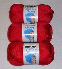 """Bernat Softee """"Baby"""" Chunky Yarn Lot Of 3 Skeins (Candy Apple Red #96008)"""