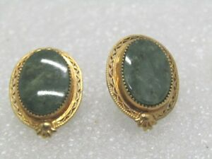 Vintage-10kt-G-F-Green-Agate-Earrings-Filigree-Pierced-Studs-1950-039-s-1960-039-s