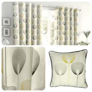 Fusion-DELTA-Natural-Geometric-100-Cotton-Eyelet-Curtains-amp-Cushions