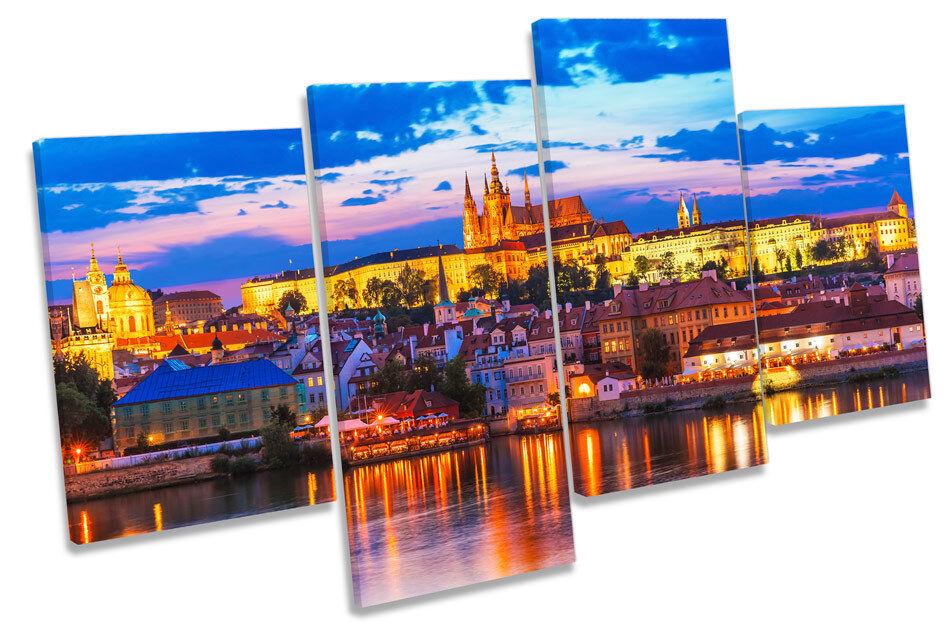 Prague City Sunset Skyline CANVAS WALL ART MULTI  Box Framed