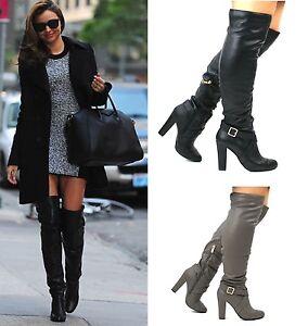 Para-Mujer-Damas-Nuevo-Grueso-talon-encima-de-la-rodilla-alto-del-muslo-Invierno-Botas-Zapatos-Talla