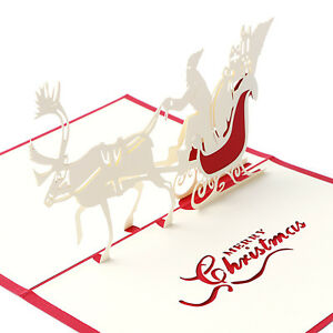 3d Pop Up Santas Sleigh Greeting Card Merry Christmas Wedding Postcard Gift Hot Jewelry & Watches