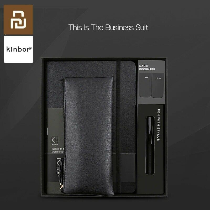 New Kinbor Business Suit Pen Notebook Bookmarks Pencil Case Office Gift