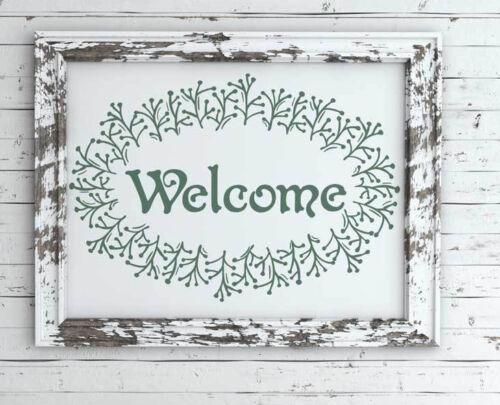 Willkommen Schild shabby Schablone Welcome romantische Blumenkranz Schablone