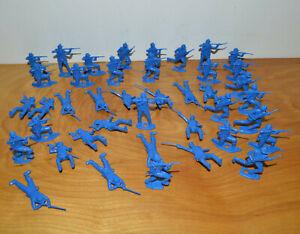 Vintage-MPC-CIVIL-WAR-UNION-SOLDIER-Plastic-Figures-Lot-2-034-Tall-Blue-Toy-Soldier