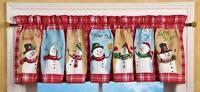 Refreshing Winter 71x14 Red Snowman Snowflake Window Valance Snowmen Galore A