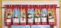 Refreshing Winter 71x14 Red Snowman Snowflake Window Valance Snowmen Galore A