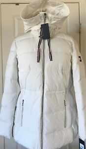 NWT-Womens-Tommy-Hilfiger-Big-Logo-Hooded-Puffer-Coat-Jacket-White-L-XL